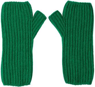 Johnstons of Elgin Emerald Ribbed Womens Cashmere Wristwarmers