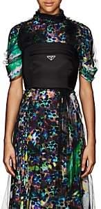 Prada Women's Logo Tech-Gabardine Bustier Top - Black