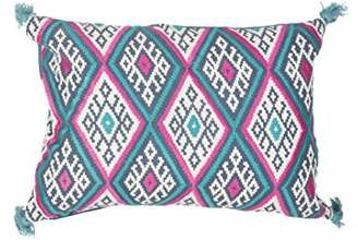 Jaipur Geometric Pattern Blue/Pink Cotton and Linen Polly Fill Pillow, 14-Inch x 20-Inch, Orion Max03 by