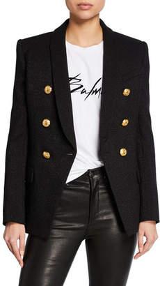 Balmain Double-Breasted Golden-Button Long Blazer