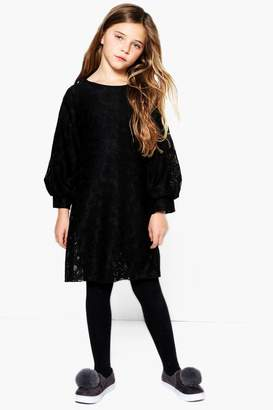 boohoo Girls Lace Puff Sleeve Shift Dress