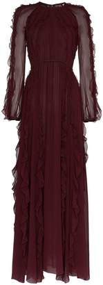 Giambattista Valli frilled sheer maxi dress