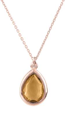 Rosegold LATELITA - Pisa Mini Teardrop Necklace Smokey Quartz