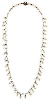 Miriam Haskell Faux Pearl & Crystal Bead Necklace