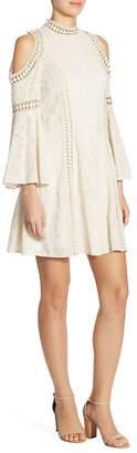 Alice + Olivia Women's Enya Embroidered Cold-Shoulder Bell-Sleeve Dress
