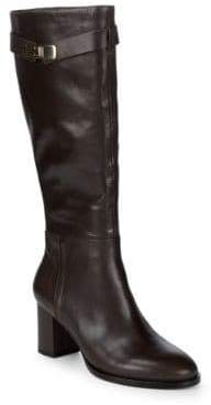 Halston Tall Leather Buckle Boots