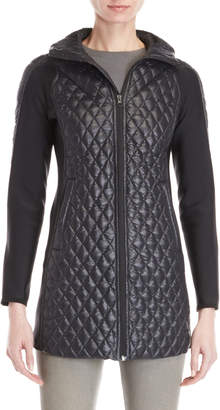 Bacon Diamond Quilted Hooded Longline Jacket