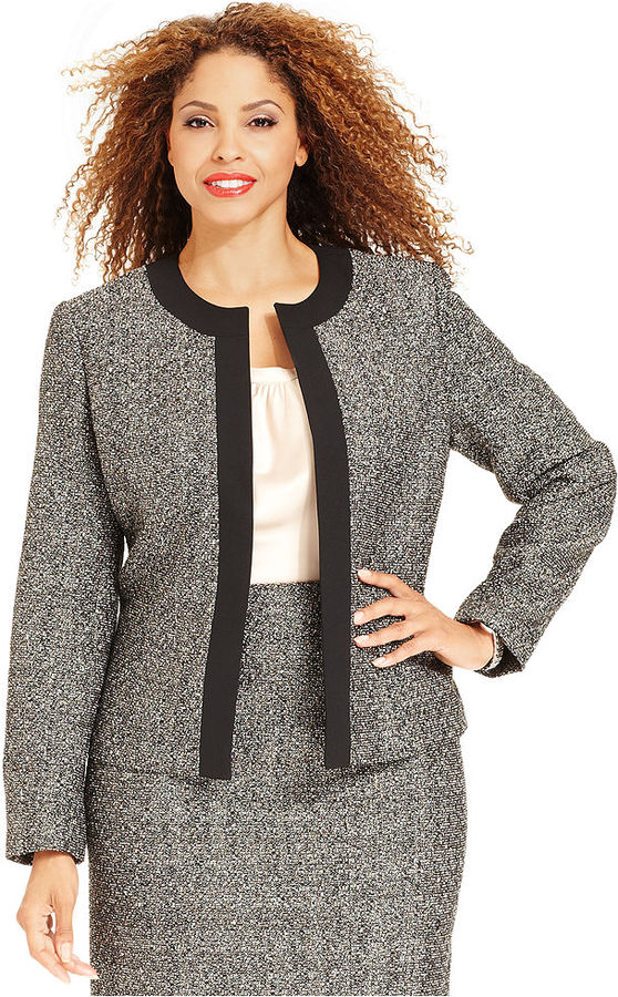 Kasper Plus Size Jacket, Metallic Boucle Contrast Trim