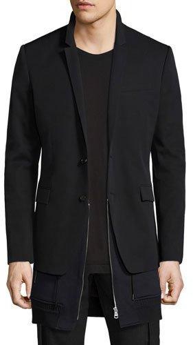 Juun J Double-Layer Wool Blazer, Black
