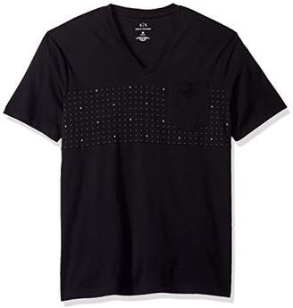 Armani Exchange A|X Men's Micro Print Short Sleeve V Neck Tee