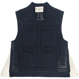 SEA - Poplin-paneled Crocheted Cotton Top - Navy $355 thestylecure.com
