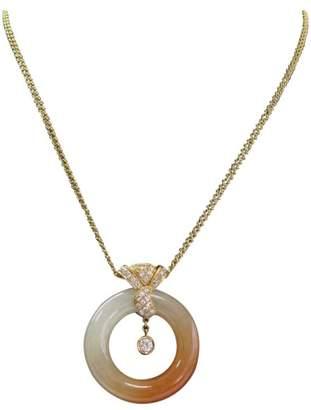 14K Yellow Gold Jade & .61ct Diamond Pendant Necklace
