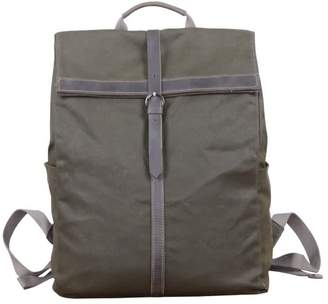 Touri 15'' Fold-Over Waxed Canvas & Leather Backpack In Army Green