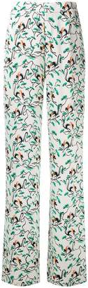 Etro leaf print wide leg trousers