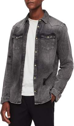 AllSaints Glockeley Slim Fit Western Denim Shirt