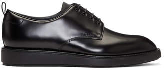 Prada Black Leather Logo Derbys