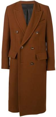 Ami Paris Patched Pockets Double-breasted Long Lined Coat