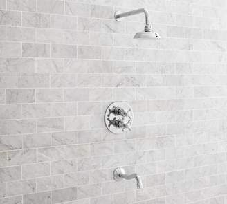 Pottery Barn Langford Thermostatic Cross-Handle Bathtub & Shower Faucet Set