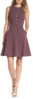 Gal Meets Glam Sleeveless Jacquard Fit & Flare Dress