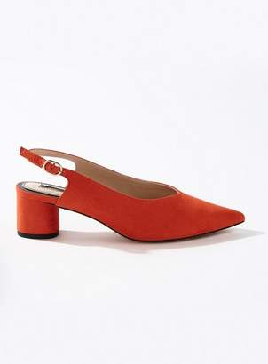 Miss Selfridge Clara red round heel sling back shoes