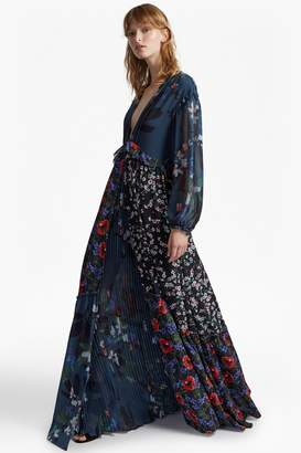 French Connection Celia Mix V Neck Floral Maxi Dress