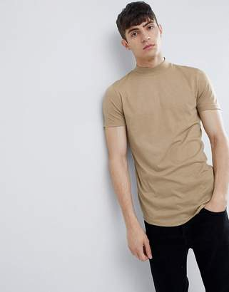 Asos Design DESIGN t-shirt with turtle neck and curved hem