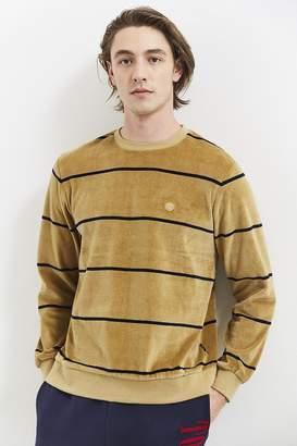 Stussy Striped Velour Crew Neck Sweatshirt