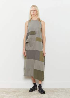 Y's Sleeveless Patchwork Dress Khaki