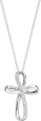 Kohl's Sterling Silver 1/10 Carat T.W. Diamond Ribbon Cross Pendant Necklace