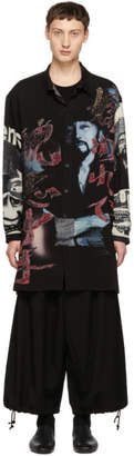 Yohji Yamamoto Black and Multicolor Print Long Shirt