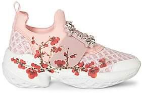 Roger Vivier Women's Viv Run Embellished Floral-Print Sneakers