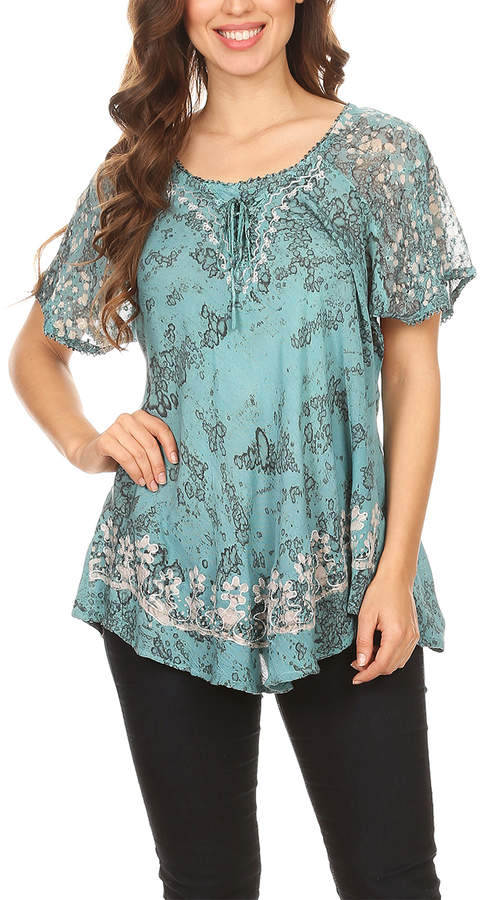 Turquoise Splatter-Dye Embroidered Top - Women & Plus