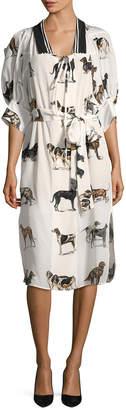 Stella McCartney Silk Dog Print Shift Dress