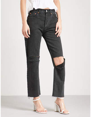 RE/DONE Distressed straight high-rise jeans