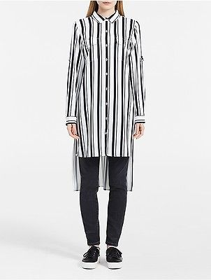 Calvin KleinCalvin Klein Womens Striped Roll-Up Sleeve Tunic Shirt