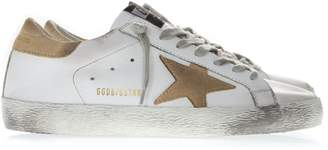 Golden Goose White Leather Superstar Sneakers With Sand Suede Inserts