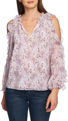 1 STATE 1.STATE Bloomsbury Floral Ruffle Cold Shoulder Top