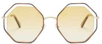 Chloé Poppy Octagonal Framed Sunglasses - Womens - Dark Yellow