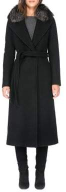 Soia & Kyo Wool Coat with Dyed Fox Fur Collar
