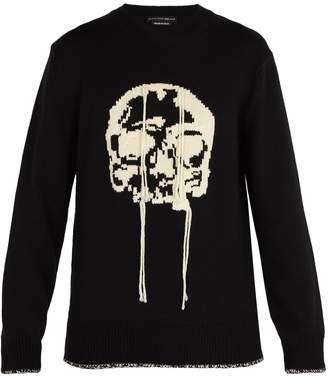 Alexander McQueen Chunky intarsia-skull wool sweater