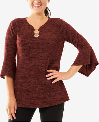 NY Collection Hardware-Detail Bell-Sleeve Top