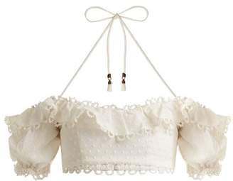Zimmermann - Melody Off The Shoulder Cropped Top - Womens - Ivory