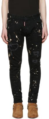 Dsquared2 Black Tidy Biker Acid Wash Jeans $505 thestylecure.com