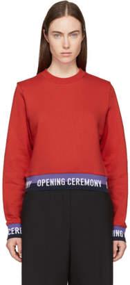 Opening Ceremony Red Cropped Elastic Logo Sweatshirt