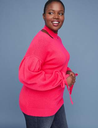 Lane Bryant Cutout Mock-Neck Sweater with Tie Cuffs