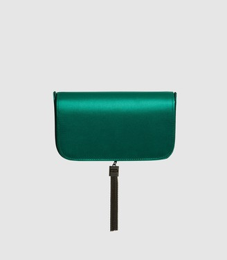 Reiss VIENNA SATIN CLUTCH BAG Dark Green