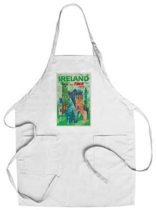 Fly London Lantern Press TWA - Ireland Vintage Poster (artist: Klein) USA c. 1964 (Cotton/Polyester Chef's Apron)