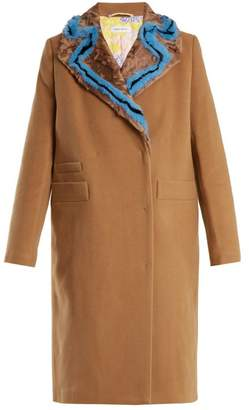 Saks Potts - Double Breasted Fur Trimmed Wool Coat - Womens - Camel
