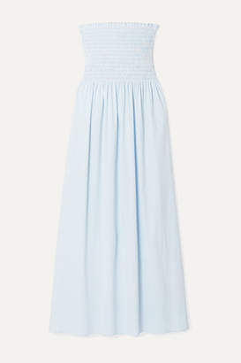La Ligne Meredith Shirred Striped Cotton-blend Poplin Midi Dress - Light blue