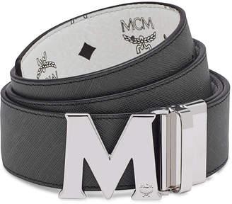 MCM Visetos Reversible M-Buckle Monogram Belt